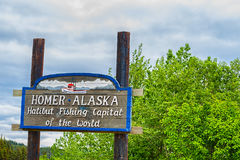 Welcoming Sign Homer Alaska stock photo