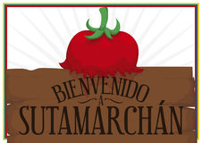 Welcoming Sign to Tomatina Festival in Sutamarchan, Colombia, Vector Illustration. Poster with welcoming wooden sign to Sutamarchan with splashed tomato in the Royalty Free Stock Photos
