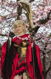 Cosplay. A cosplay character welcomes spring season by celebrating cherry blossom on April. Photo taken on April, 2016 Royalty Free Stock Images