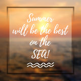 Welcoming summer card with lettering Royalty Free Stock Photography