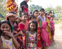Welcoming Tourists in an Indian Village stock photography