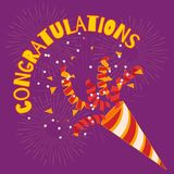 Welcoming the winner. Congratulations! Confetti and serpentine flies out of the cracker. Festive decoration. Welcoming the winner Stock Photos