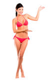 Welcoming woman in bikini Stock Images