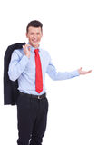 Welcoming young business man Stock Images