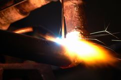 Weld. Rusty gas pipe fire welding Royalty Free Stock Photography