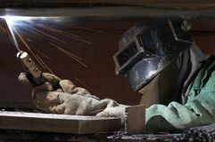 Weld with fire Royalty Free Stock Photo