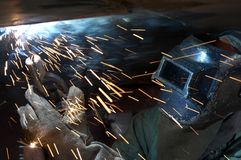 Weld with sparks Royalty Free Stock Photo