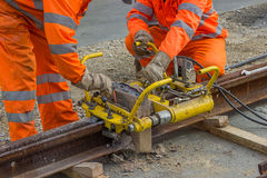 Free Weld Trimmer For Removal Of Extra Metal From Rail Head 3 Stock Photography - 46986422