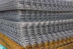 Welded iron mesh panels for reinforced concrete background 2 Stock Images