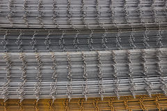 Welded iron mesh panels for reinforced concrete background Royalty Free Stock Photos