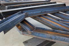 Welded metal beams. New welded metal beams on modern plant royalty free stock images