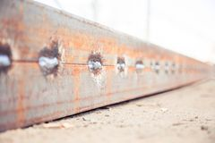 Welded steel bar from two Angle bars. A Stock Image