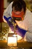welder подогревающего пламени при резки стоковое изображение