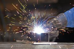 Welder (1). A worker is welding steel Stock Images