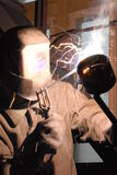 Welder. A Man is weldind a place of steel Royalty Free Stock Photo