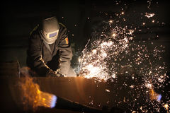 Welder. Working with metal construction Royalty Free Stock Photography