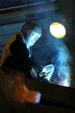 Welder. Working with metal construction Royalty Free Stock Images