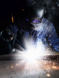 Welder. Man in a mask doing the work Stock Images