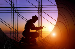 The welder. A silhouette of a worker-welder Stock Photo