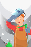 Welder. A vector illustration of a working welder Royalty Free Stock Images