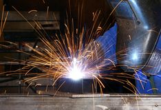 Welder (3). A worker is welding steel Royalty Free Stock Image