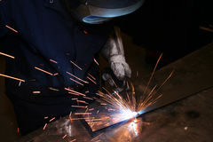 Welder. A welder production welding at his work station stock image