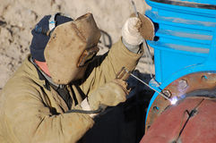 Welder. Urban construction in Kiev. Unrecognizable worker Stock Image