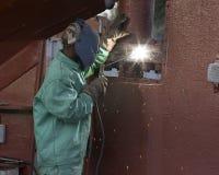 Welder. Under ship stock photography