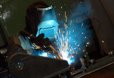 Welder. Welding operator royalty free stock photo