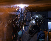 Welder. Fire trails while welding stock photos