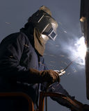 Welder. Welding at night royalty free stock image