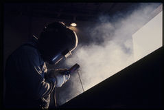 Welder. American factor worker hard at work Royalty Free Stock Photo