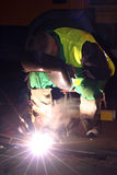 Welder. A welder is working at night Royalty Free Stock Images