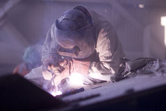 Welder. Working in a copper mine Royalty Free Stock Photography