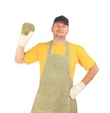 Welder in apron with mittens Stock Image