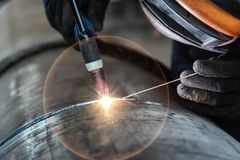 Free Welder, Arc Welding And Weld Seam Close-up Royalty Free Stock Images - 126305209
