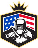 Welder Arc Welding USA Flag Crest Retro. Illustration of welder arc welding viewed from front set inside shield with usa american stars and stripes flag in the Royalty Free Stock Photos
