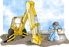 Welder and a backhoe. This illustration that I created depicts a man arc welding on a large pipe with a backhoe to his side Stock Photography