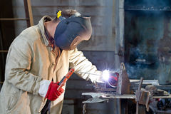 Welder busy parts of the pipeline Royalty Free Stock Image