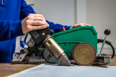Welder on canvas Royalty Free Stock Photography
