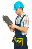 Welder checking his welding mask Royalty Free Stock Images