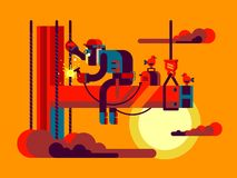 Welder climber character Stock Images