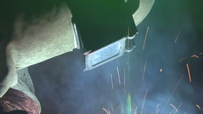 Welder closeup stock video