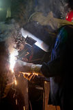 Welder construction in factory industrial Royalty Free Stock Photos