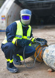 Welder covered with  protective mask Stock Photography