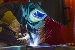 Industrial steel welder in factory. Welder, craftsman, erecting technical steel Industrial steel welder in factory Royalty Free Stock Photography