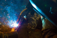 Welder. Digested in the workplace, photography Royalty Free Stock Photography