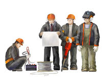 Welder, electrician, jack hammer worker, deputy manage, architect and project manager. Builders working on construction works illu Stock Image