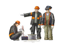 Welder, electrician, project manager. Builders working on construction works illustration Stock Photography