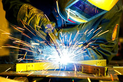 Welder erecting technical steel Royalty Free Stock Photography